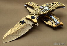 MASTER COLLECTION FANTASY GOLD FINISH SPIDER DESIGN SPRING ASSISTED KNIFE