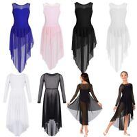 Girls Lyrical Dance Dress Ballet Gym Latin Leotard Mesh Skirt Dancewear Costumes