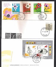 CYPRUS 2008 COMPLETE YEAR SETS OFFICIAL + UNOFFICIAL FDCs: 9 SETS, 23 STAMPS+2MS