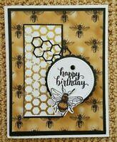 Handmade HAPPY BIRTHDAY Greeting CARD KIT  Honey Bee Honeycomb 4 Cards/Envelopes