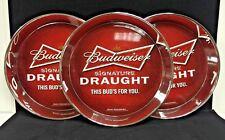 "Budweiser Bowtie Acrylic Serving Trays 12.5"" Diameter Set Of 3 New Style & F/Sh."