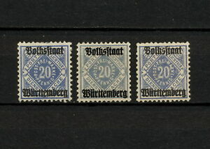 (YYAO 785) Wurttemberg 1919 TYPE MNG OFFICIAL DIEN Mich 140a - 140b  Germany