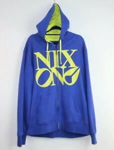 Nixon Men's long Sleeve Blue Yellow Logo Hoodie Size L