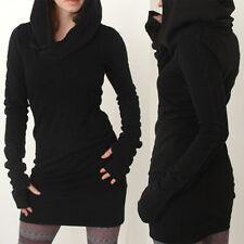 de femmes noires Sweat à capuche à moulant Sweatshirt manches longues MINI ROBE