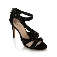 NEW VINCE CAMUTO KAYANNE BLACK  SUEDE JEWELED DRESS SANDALS  11 M