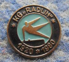 KG RADLIN 60 ANNIVERSARY / 1920-1980 / POLAND GYMNASTICS CLUB BLUE PIN BADGE