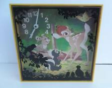 Rare Vintage Welby / Walt Disney BAMBI Wall Clock ~ Iconic Bambi Forest Scene !!