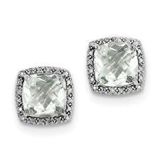 Platino Plata de Ley Diamante Original & Verde Cuarzo Corte Almohada Pendientes
