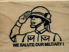 """mounted rubber Stamp WE SALUTE OUR MILITARY! Female Soldier  1 1/2"""" X 1 3/4"""""""