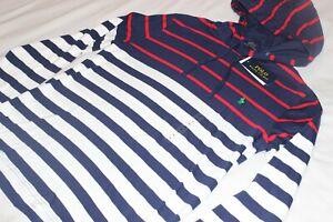 Polo Ralph Lauren Men's Cotton Navy Stripe Lightweight Hoodie Size Medium NWT