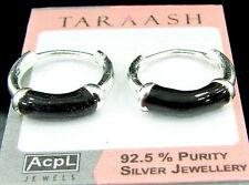 925 Solid Sterling Fine Silver Handmade Pair of Hoop Earrings Wali Gift - 417