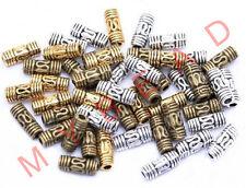 50pcs Tibetan Silver Tube Column Shaped Spacer Beads Vintage DIY Jewelry Making