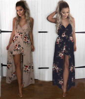 Hot Women's BOHO Floral Summer Beach Sleeveless Cocktail Party V Neck Maxi Dress