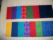 """42~5"""" X 5"""" Cotton Squares Bold Flannel Quilt Pieces--14x3   Red, Blue, Orange"""