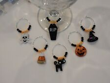"""""""HALLOWEEN  GLITTER """"(Set #2) set of 6 hand crafted  wine glass charm markers"""