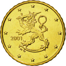 [#463017] Finland, 10 Euro Cent, 2001, MS(65-70), Brass, KM:101