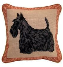 "Black Scottie Scottish Terrier Dog Needlepoint Pillow 10""x10"" NWT"