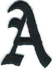 "1 1/8"" Fancy Black Old English Alphabet Letter A Embroidered Patch"