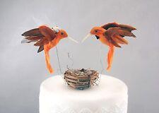 Orange Hummingbird Bride & Groom Wedding Cake Topper: Unique, Rustic Love Birds