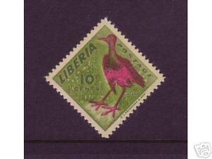 Liberia Sc 345 var MNH. 1953 10c Jacana Bird printed on gum side only, VF.