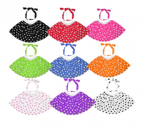 Polka Dot Skirt Fancy Dress 50s Rock n Roll Grease Costume Ladies Girls Tie Head