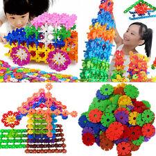 100Pcs Child Kids Plastic Multi-Color Snowflake Building Blocks Educational Toy