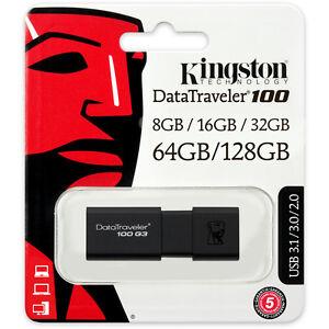 Kingston DataTraveler 100 G3 USB 3.0 8GB/16GB/32GB/64GB/128GB Flash Drive 3.1
