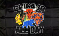 Chicago Bears Cubs Blackhawks Bulls Flag 3x5 ft Black Sports Banner Man-Cave New