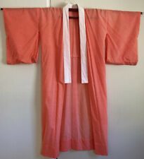 VINTAGE Kimono Unlined Handmade Orange White Lightweight Fabric