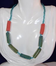 """African Trade Beads Strand Glass Green Aqua Coral 17"""" Necklace 2d 73"""