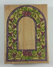 Stained Glass Morning Glory Arch Large Background Stamp Rubber Stampede #A1224G