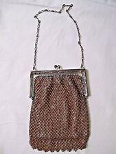 Vintage Whiting Davis Brown Metal Mesh Bead Small Purse Handbag Fringe 1920s