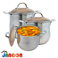 6pcs Stainless Steel Induction Hob Pot Double Handled Stockpot with Glass Lids