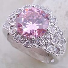 Chunky Statement Ring New Size 5.5/K.5 Silver Pink Kunzite Cubic Zirconia Thick