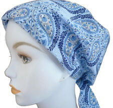 Blue Paisley Chemo Cancer Hat Alopecia Hair loss Scarves Turban Headwrap Cover