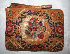 PATRICIA NASH CASSINI WRISTLET PROVENCAL BEADING MULTI-COLOR LEATHER TAN/GOLD