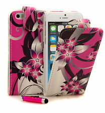 Pink Flower PU Leather Wallet Flip Case Cover for Various Apple iPhone Mobiles