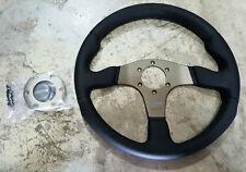 """SALE MOMO """"RACE"""" 350mm Steering Wheel Black Leather RCE35BK1B"""