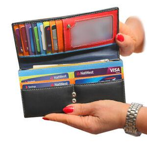 Rallegra Ladies Long Large Leather Purse Wallet | Black & Multi Coloured | RFID
