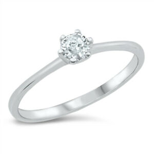 925 Sterling Silver & Cubic Zirconia Solitaire Ring 4 mm 0.25 Carat Equivalent