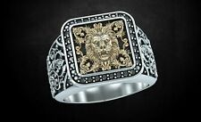 Lion Face Square Men's Ring Yellow Gold Finish 925 Sterling Silver