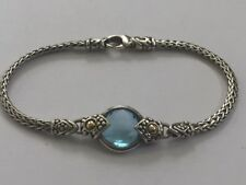 "John Hardy Sterling 18K Yellow Gold Blue Topaz Girl Bracelet 6"".-B442"