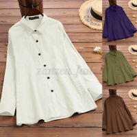 ZANZEA Womens Long Sleeve Collared Button Shirts Cotton Casual Loose Tops Blouse