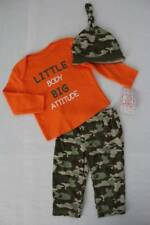 NEW Baby Boys 3 pc Outfit 3 - 6 Month Bodysuit Pants Hat Set Camouflage Attitude