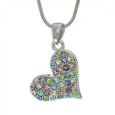 """Pendant Heart Made with Swarovski Crystal Love Multi Color Necklace 18"""" Chain"""