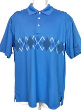TOP FLITE Mens Golf Polo Sz L Blue, Short Sleeve Diamond Pattern Shirt