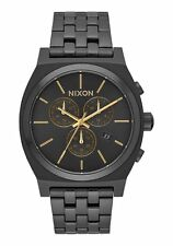 **BRAND NEW** NIXON WATCH THE TIME TELLER CHRONO ALL BLACK / GOLD A9721031 NIB!