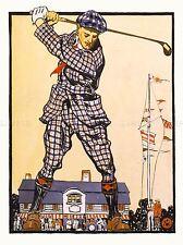 Pinturas de acuarela Hombre Swing De Golf Club mástil Bandera Retro Cartel impresión lv3498