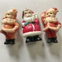 3 VTG Gurley Novelty Figural Wax Candles Christmas Red Santa Claus