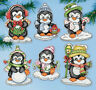 Cross Stitch Kit Design Works 6  Penguins on Ice Christmas Ornaments PC #DW2286